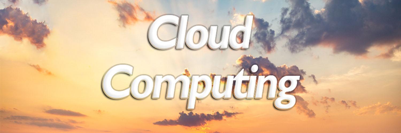 Banner cloud computing nuvens alaranjadas